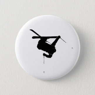 Black & White Skier Button