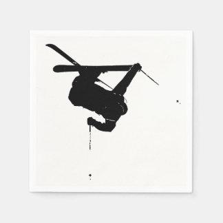 Black & White Skier Napkin