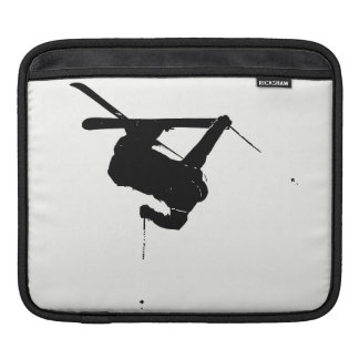 Black & White Skier Sleeve For iPads
