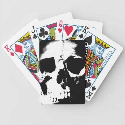 Black & White Skull Bicycle Playing Cards