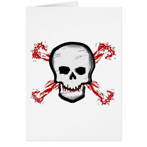 Black/White Skull & Bloody Cross Bones Greeting Card