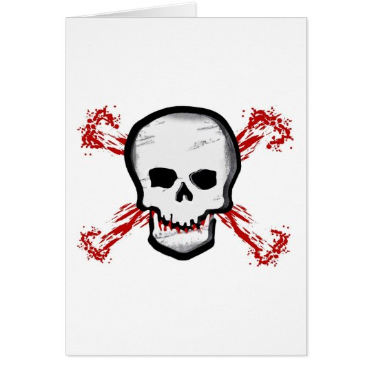 Black/White Skull & Bloody Cross Bones Card