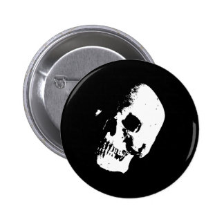Black & White Skull Pinback Button