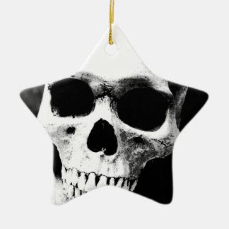 Black & White Skull Ceramic Ornament