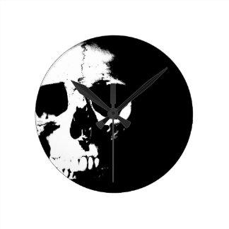 Black & White Skull Round Wall Clock