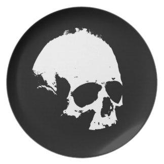 Black & White Skull Dinner Plate