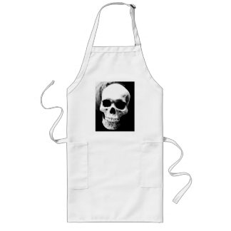 Black & White Skull Long Apron