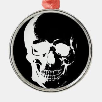 Black & White Skull Metal Ornament
