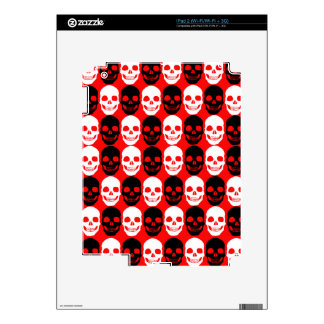 Black & White Skull Pattern on Red iPad 2 Decals