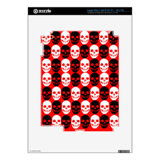 Black & White Skull Pattern on Red iPad 3 Skin