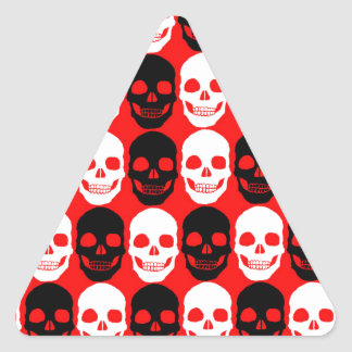 Black & White Skull Pattern on Red Triangle Sticker