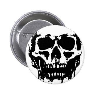 Black White Skull Pop Art Button