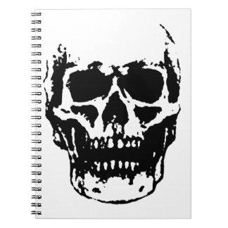 Black White Skull Pop Art Spiral Notebook