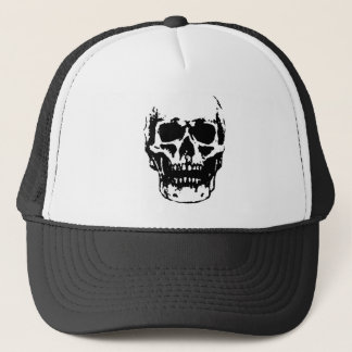 Black White Skull Pop Artwork Trucker Hat