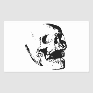 Black White Skull Rectangular Sticker