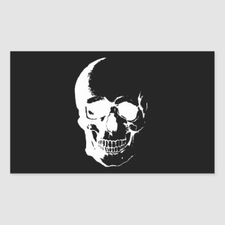 Black & White Skull Rectangular Sticker