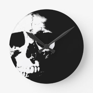 Black & White Skull Round Clock