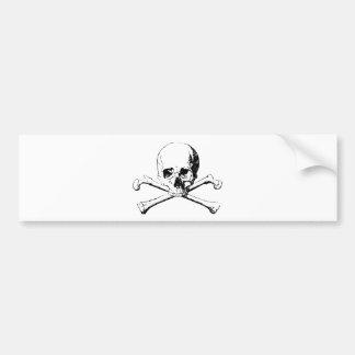 Black & White Skull & the Bones Bumper Sticker