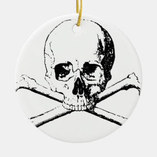 Black & White Skull & the Bones Ceramic Ornament