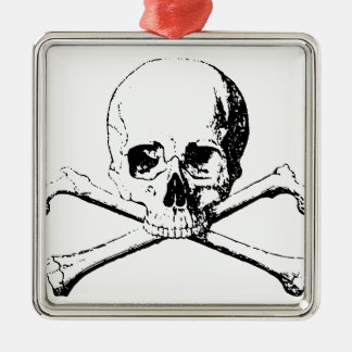 Black & White Skull & the Bones Metal Ornament