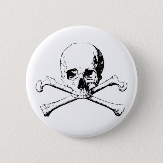 Black & White Skull & the Bones Pinback Button