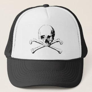 Black & White Skull & the Bones Trucker Hat