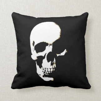 Black White Skull Throw Pillow