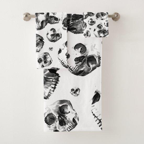 Black & White Skulls Skeleton Skull Art Pattern Bath Towel Set