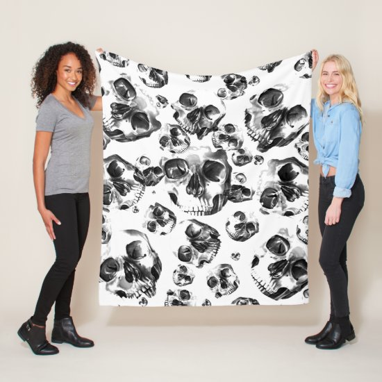 Black & White Skulls Skeleton Skull Art Pattern Fleece Blanket