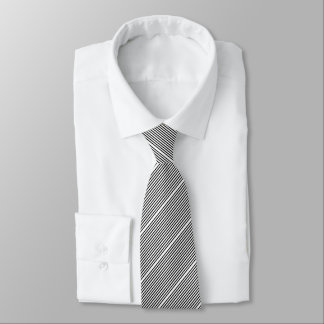 Black White Small Angled Striped Tie
