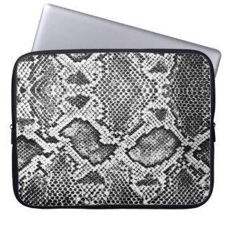 Black & White Snakeskin Pattern Computer Sleeves