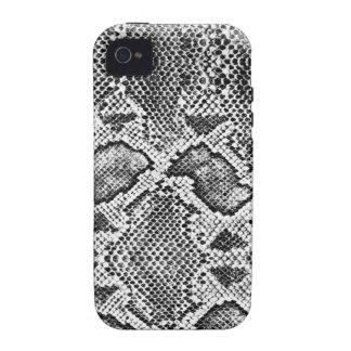 Black & White Snakeskin Pattern iPhone 4 Cases