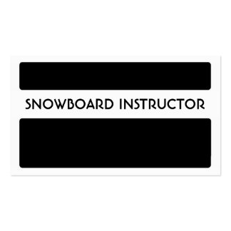 Black white snowboard instructor business cards