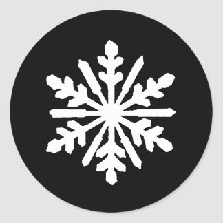 Black & White Snowflake - Circle Sticker