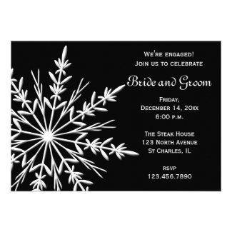 Black & White Snowflake Engagement Party Invite