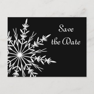 Black & White Snowflake Wedding Save the Date
