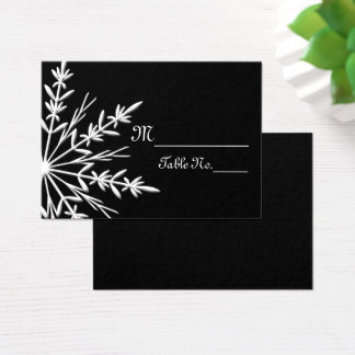 Black White Snowflake Winter Wedding Place Cards