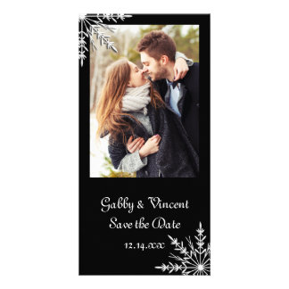 Black White Snowflake Winter Wedding Save the Date Card