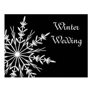 Black White Snowflake Winter Wedding Save the Date Postcard