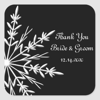 Black & White Snowflake Winter Wedding Thank You Square Sticker