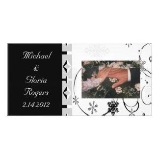 Black & White Snowflake Wonderland Photo Greeting Card