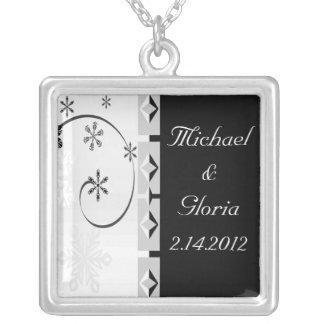 Black & White Snowflake Wonderland Set Square Pendant Necklace