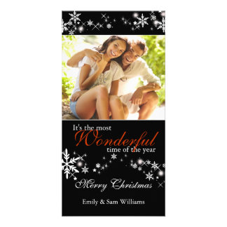 Black & White Snowflakes Chic Holiday Photo Card