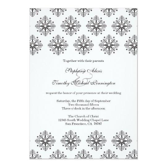 Black + white snowflakes winter wedding invitation