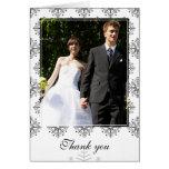 Black + white snowflakes winter wedding thank you card