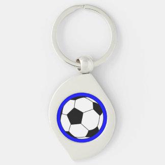Black/White Soccer Football Ball on Blue Keychain