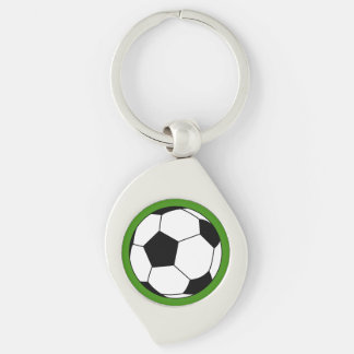Black White Soccer Football Ball on Green Silver-Colored Swirl Metal Keychain