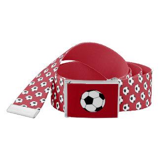 Black/White Soccer Football Balls, Dark Red Belt