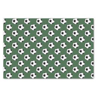 """Black/White Soccer Football Balls, Hunter Green 10"""" X 15"""" Tissue Paper"""