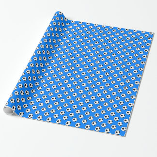 Black/White Soccer Football Balls on Azure Blue Wrapping Paper